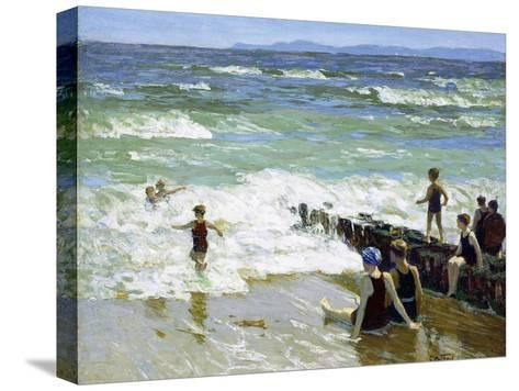 Bathers at Breakwater-Edward Henry Potthast-Stretched Canvas Print