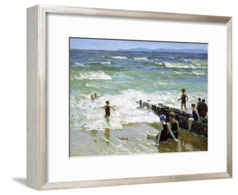 Bathers at Breakwater-Edward Henry Potthast-Framed Art Print