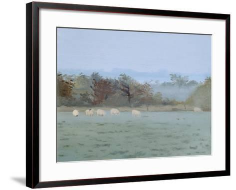 Sheep Grazing; Misty Morning, 1993-Gillian Furlong-Framed Art Print