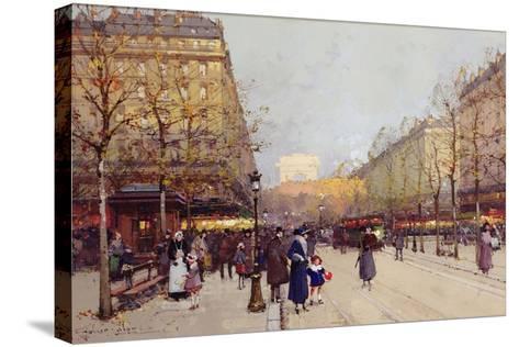 Les Champs Elysees, Paris-Eugene Galien-Laloue-Stretched Canvas Print