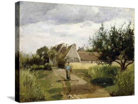 Entrance of a Village, C.1863-Camille Pissarro-Stretched Canvas Print