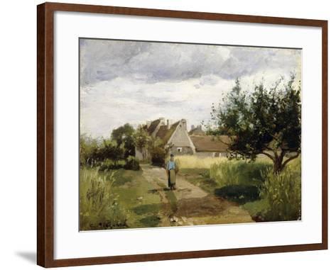 Entrance of a Village, C.1863-Camille Pissarro-Framed Art Print