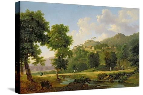 Landscape with a Rider, C.1808-10-Jean Victor Bertin-Stretched Canvas Print