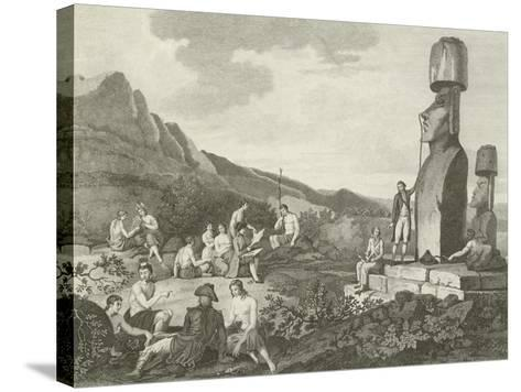 Inhabitants and Monuments of Easter Island--Stretched Canvas Print