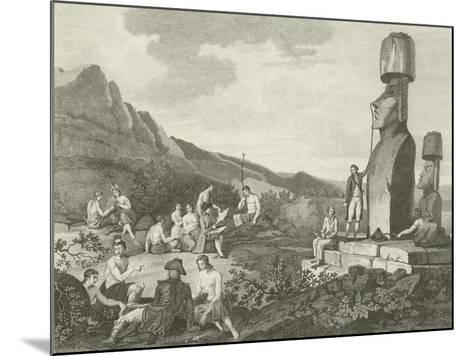Inhabitants and Monuments of Easter Island--Mounted Giclee Print
