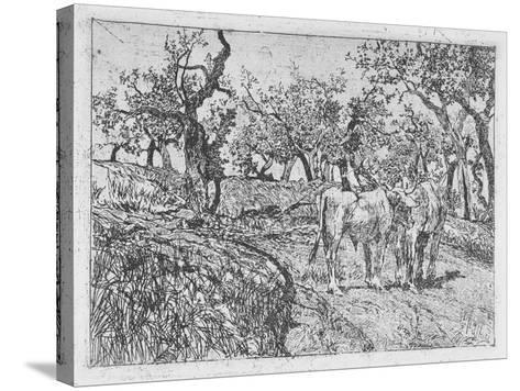 Cattle Amongst Olive Trees-Giovanni Fattori-Stretched Canvas Print