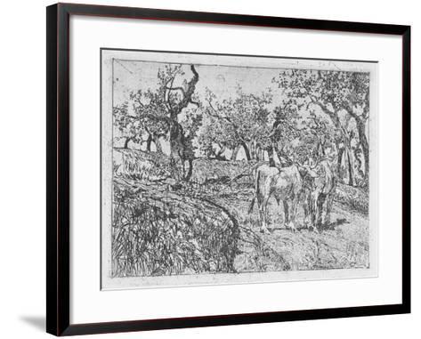 Cattle Amongst Olive Trees-Giovanni Fattori-Framed Art Print
