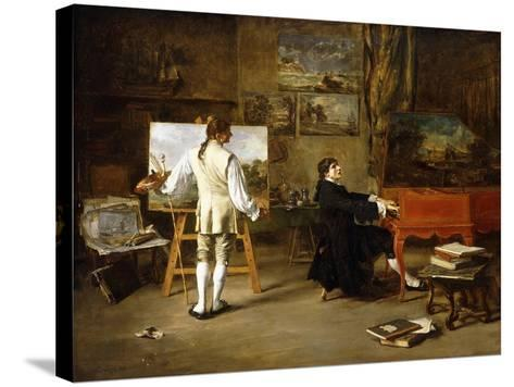 Pergolese in the Studio of Joseph Vernet, 1880-Lucien Alphonse Gros-Stretched Canvas Print