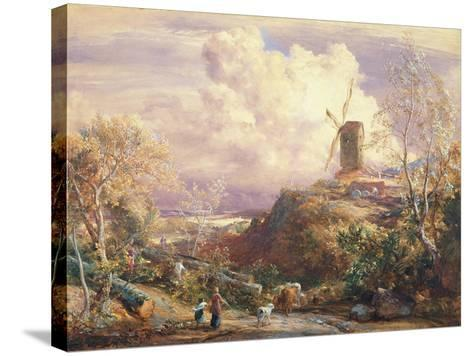 Windmill on a Hill with Cattle Drovers-John Constable-Stretched Canvas Print
