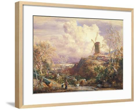 Windmill on a Hill with Cattle Drovers-John Constable-Framed Art Print