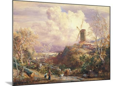 Windmill on a Hill with Cattle Drovers-John Constable-Mounted Giclee Print