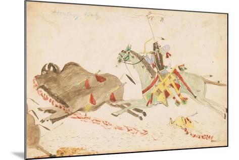 Howling Wolf Hunting Buffalo, 1874-75--Mounted Giclee Print