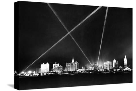 Downtown Miami Skyline at Night, 1926--Stretched Canvas Print