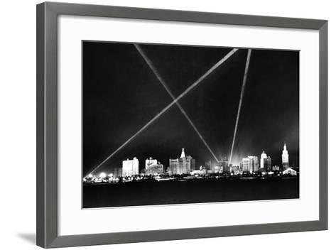 Downtown Miami Skyline at Night, 1926--Framed Art Print