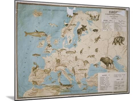 Map of Animals in Europe-Janos Balint-Mounted Giclee Print