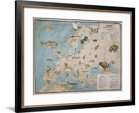 Map of Animals in Europe-Janos Balint-Framed Art Print