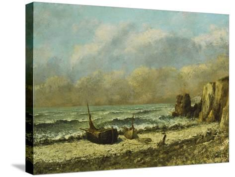 Two Boats on the Beach-Gustave Courbet-Stretched Canvas Print