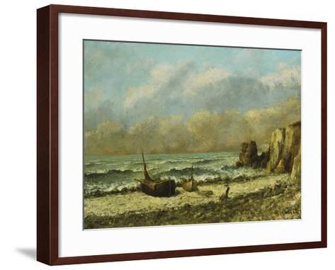 Two Boats on the Beach-Gustave Courbet-Framed Art Print