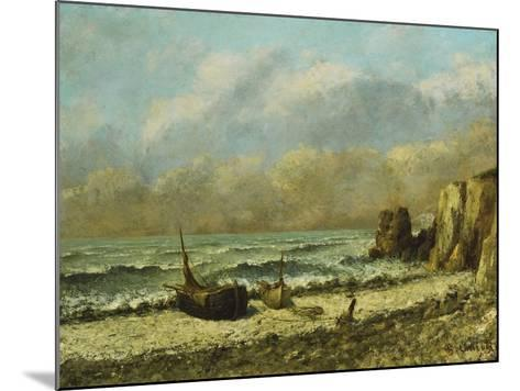 Two Boats on the Beach-Gustave Courbet-Mounted Giclee Print