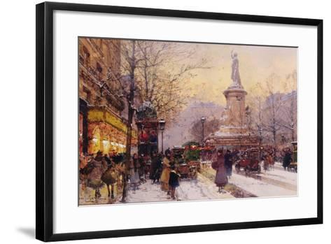 Winter Paris Street Scene-Eugene Galien-Laloue-Framed Art Print