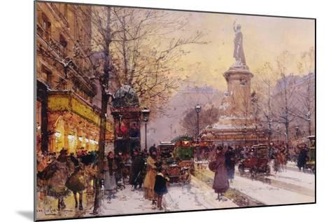 Winter Paris Street Scene-Eugene Galien-Laloue-Mounted Giclee Print