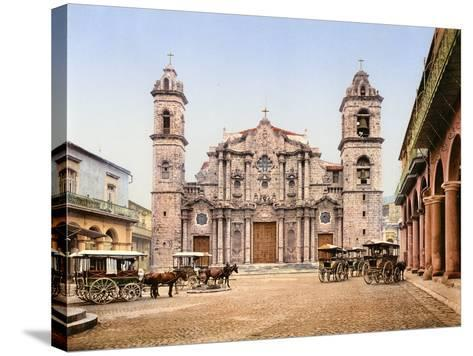Old Cathedral Plaza, Havana, 1903--Stretched Canvas Print