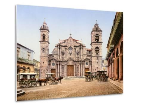 Old Cathedral Plaza, Havana, 1903--Metal Print