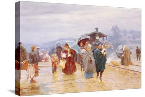 The Train Has Arrived, 1894-Nikolaj Alekseevich Kasatkin-Stretched Canvas Print