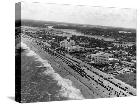 Aerial View of Fort Lauderdale Beach, 1950--Stretched Canvas Print