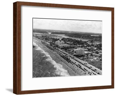 Aerial View of Fort Lauderdale Beach, 1950--Framed Art Print