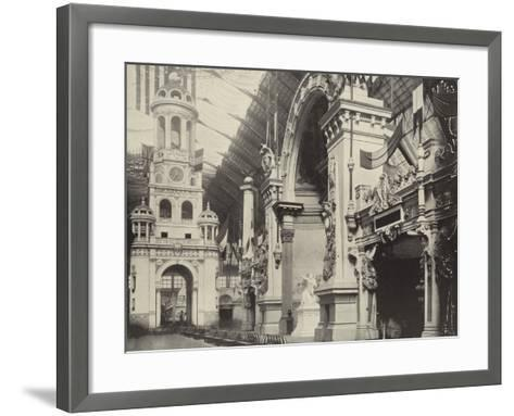 Clock-Tower and French Facade--Framed Art Print