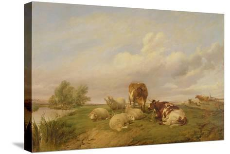 On Canterbury Meadows, 1861-Thomas Sidney Cooper-Stretched Canvas Print