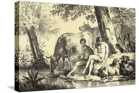Riverbank Scene-Adriaen van de Velde-Stretched Canvas Print