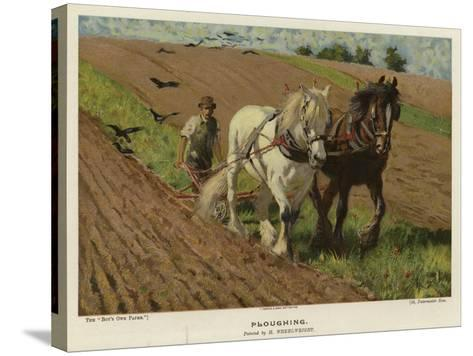 Ploughing by H Wheelwright--Stretched Canvas Print
