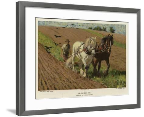 Ploughing by H Wheelwright--Framed Art Print