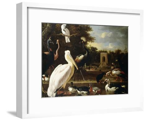 Many Different Types of Birds at a Pool in a Park-Melchior de Hondecoeter-Framed Art Print