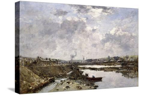 Fecamp, L'Arriere-Port En Construction, 1883-Eug?ne Boudin-Stretched Canvas Print