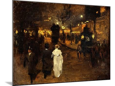 Charing Cross Road at Night, London, C.1905-Frederick Judd Waugh-Mounted Giclee Print