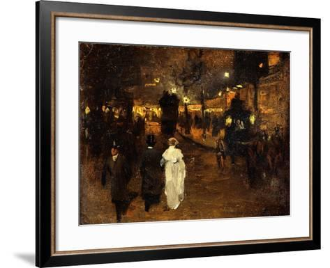 Charing Cross Road at Night, London, C.1905-Frederick Judd Waugh-Framed Art Print