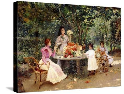 Teatime in the Garden-Edouard Frederic Wilhelm Richter-Stretched Canvas Print
