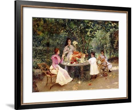 Teatime in the Garden-Edouard Frederic Wilhelm Richter-Framed Art Print