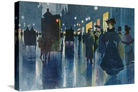 Munich Street at Night-Karl Vetter-Stretched Canvas Print