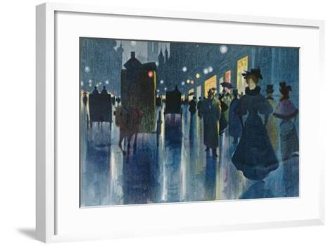 Munich Street at Night-Karl Vetter-Framed Art Print