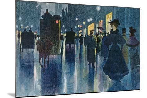 Munich Street at Night-Karl Vetter-Mounted Giclee Print