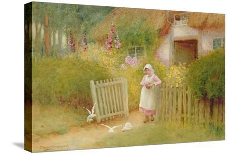 Feeding the Doves-Arthur Claude Strachan-Stretched Canvas Print