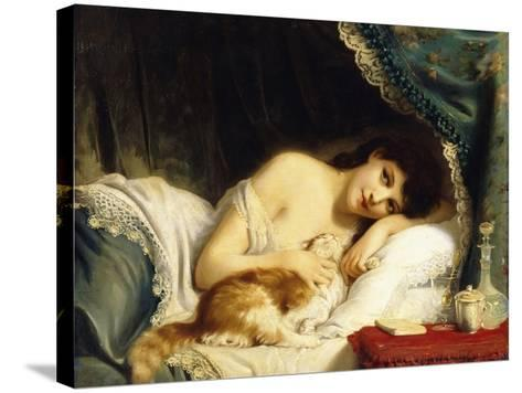 A Reclining Beauty with Her Cat-Fritz Zuber-Buhler-Stretched Canvas Print
