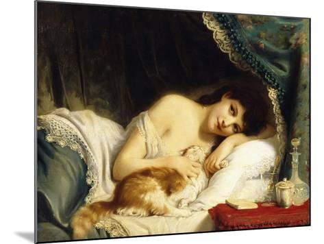 A Reclining Beauty with Her Cat-Fritz Zuber-Buhler-Mounted Giclee Print