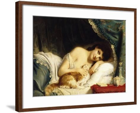 A Reclining Beauty with Her Cat-Fritz Zuber-Buhler-Framed Art Print