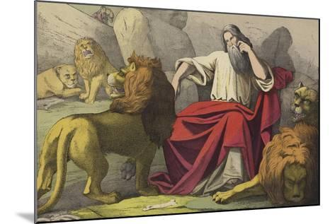 Daniel in the Lions Den--Mounted Giclee Print