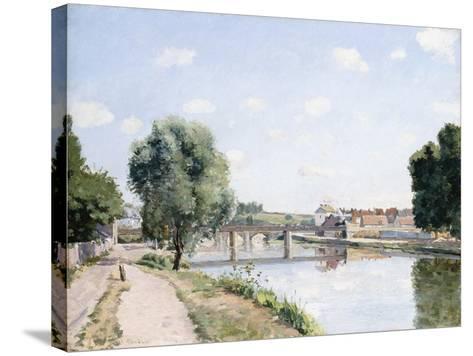 The Railway Bridge, Pontoise, C.1873-Camille Pissarro-Stretched Canvas Print